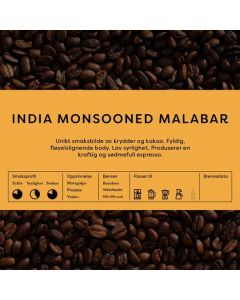 Black Cat India Monsooned Malabar AA 1kg Hele Bønner